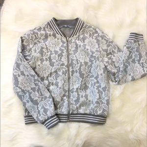 Lucy Paris While Lace Bomber Jacket